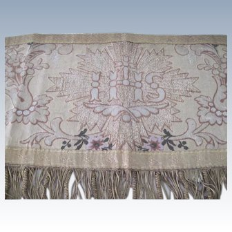 Antique 19th c French Church Altar Banner Pelmet Tapestry w/ Metallic thread and Roses