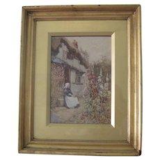 Antique English Watercolor Painting by Artist J.W. Milliken (1887-1930) Woman in Garden