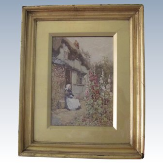 Antique English Watercolor Painting by Artist J.W. Milliken (1887-1930) Woman in Garden