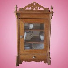 Antique German Schneegas Miniature Dollhouse Oak Armoire Cabinet c1900