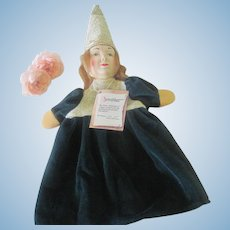 Vintage German Kersa Hand Carved and Hand Painted Wooden Princess Hand Puppet Doll with Tag