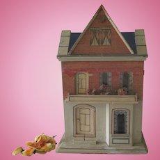Antique German Gottschalk Blue Roof Dollhouse c1900