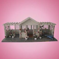 Antique Gottschalk Dollhouse Gazebo Garden House c1900