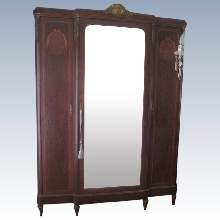 Antique French Mirrored Armoire Cabinet with Ormolu and Inlaid Decoration - Antique French Mirrored Armoire Cabinet With Ormolu And Inlaid : La
