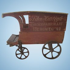 """Antique Dutch """"Bread Products"""" or Bakery Wooden Toy Doll Cart Wagon c1900"""