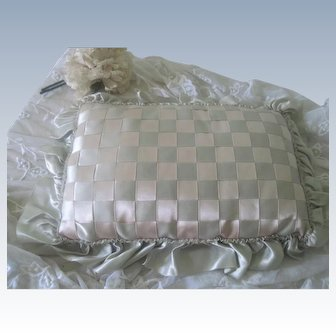 Vintage 1920's Silk Boudoir Cushion Pillow with Ribbons and Ruffles
