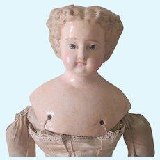 Antique German Greiner or Greiner Type Papier Mache Shoulder Head Doll c1860