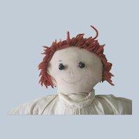 Vintage Primitive Handmade Raggedy Ann Cloth Doll C1940