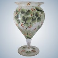 Antique Handpainted Glass Holly Footed Christmas Vase