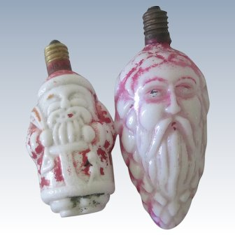Vintage Japanese Glass Electric Santa Christmas Lights c1920