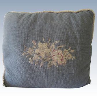 Old Vintage English Needlepoint Floral Pillow Cushion c1940