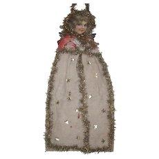 "Large Antique Victorian Scrap and Cotton Batting Angel Christmas Ornament Decoration 23"""
