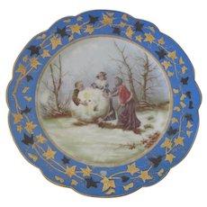 Rare Antique Bruder Schwalb Carlsbad Saint Nicholas or Father Christmas Porcelain Cabinet Plate c1880