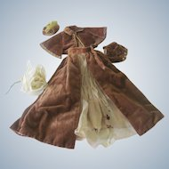 Vintage Antique Style Hand Sewn Velvet Doll Outfit Cape, Skirt, Muff and Hat c1940's -50's