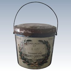 Antique Metal Christmas Candy Container Pail Bucket C1898