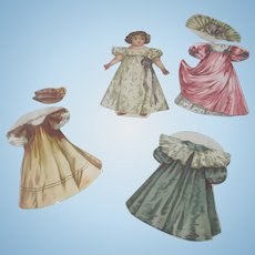 Old Victorian Little Girl Paper Doll with Three Dresses and Two Hats