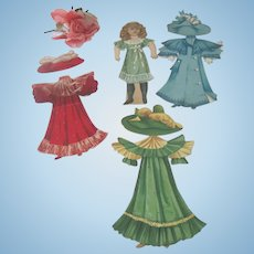 Old Rapheal Tuck Victorian Paper Doll with Three Outfits c1894