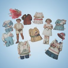 Pair of Old Edwardian Paper Dolls with Embroidered Outfits c1915