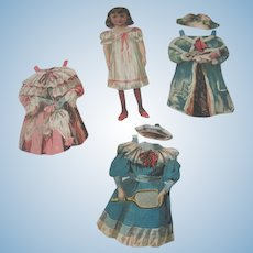 Old Victorian Paper Doll with Three Outfits