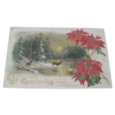 Old Victorian Christmas Postcard with Deer