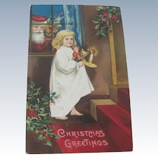 Old Victorian Christmas Postcard with Santa, Little Girl, Doll and Teddy Bear