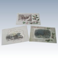 Set of three Old Victorian Christmas Postcards with Rural Snow Scenes