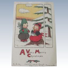 Old Edwardian Christmas Postcard with Children or Dolls c1916