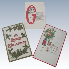 Set of Three Old Edwardian Christmas Postcards
