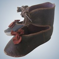 Antique French Jumeau Leather Doll Shoes c1880 Size 12