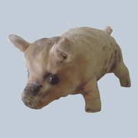 Old Vintage Spotted Stuffed Pig Doll Toy c1930