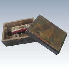 Old Victorian Child's Clarks Wooden Sewing Box with Little Girl and Dolls