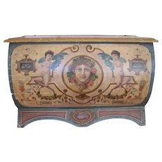 Reserved for Scott! Antique Italian Chest Trunk Coffer Cassone Late 18th Early 19th C Hand Painted Wood