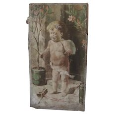 Old Victorian Print of Cupid on Board c1900
