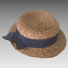 Old Child's Mannequin Doll Straw Boater Hat c1900