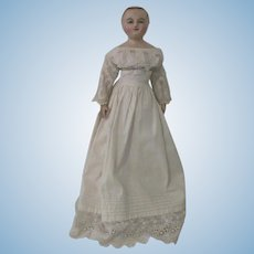 Antique English Poured Wax Doll c1830-60