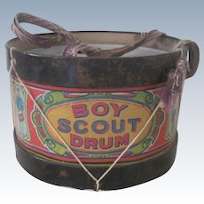 Old Boy Scouts Toy Tin Drum Doll Accessory c1908