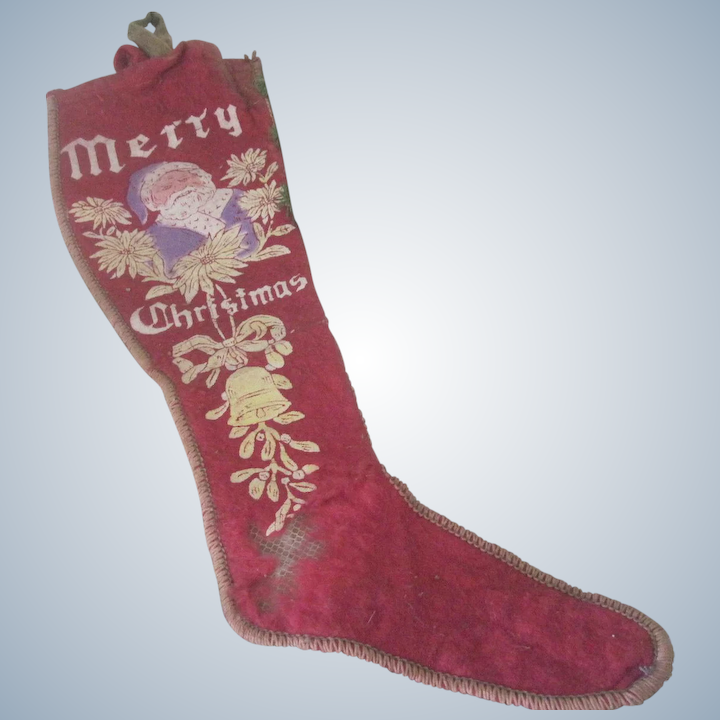 Victorian Christmas Stockings.Old Victorian Felt Printed Christmas Stocking With Santa Claus C1900