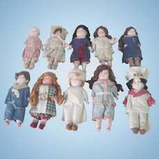Set of 10 Antique German Composition Dolls c1915