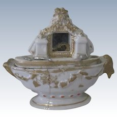 Old Early Miniature English Staffordshire Fairing Dressing Table Trinket Box Dollhouse Accessory c Mid 1800's