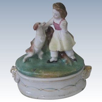 Old Staffordshire Fairing Porcelain Trinket Box with Little Girl and Dog c1850