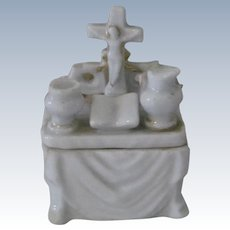 Old Porcelain Stafforshire Fairing Trinket Box Dollhouse Accessory Church Altar c1850