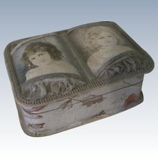 Old Victorian Chocolate Trinket Box with Little Girls and Silk Rouching