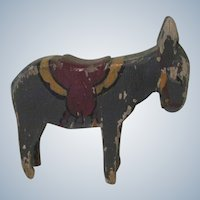 Old Hand Painted Folk Art Wooden Donkey Toy Doll Accessory