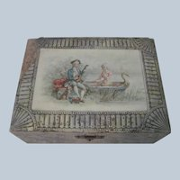 Old Victorian Vanity Dresser Trinket Box with 18thc Romantic Couple c1900