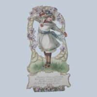 Old Victorian Embossed Valentine Card w/ Girl on Ice Skates and Violets