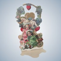 Old Victorian Pop Out Valentine Card with Little Girls and Cherub