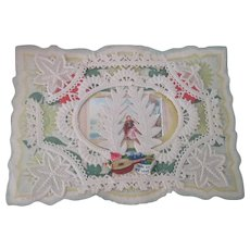 Old Victorian Valentine Card with Die Cuts and Paper Lace