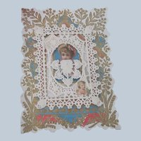 Old Victorian Valentine Card with Die Cut and Paper Lace Detailing