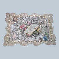 Old Victorian Valentine with Floral Lace and Die Cuts