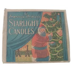 Antique Santa Claus Christmas Tree Candle Box with Candles c1915